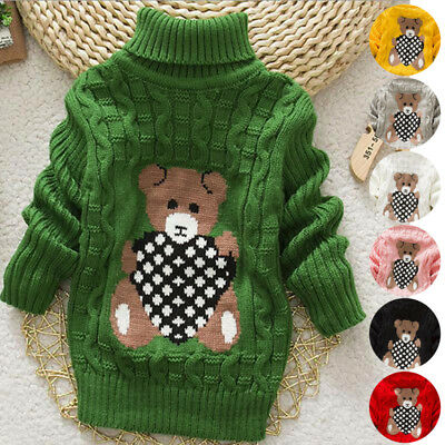 Girl Kids Winter Warm Coat Knit Sweater Baby Knitwear Pullover Tops Clothes