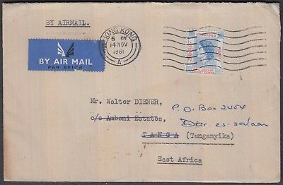 Hong Kong China Qe $1 On 1961 Airmail Redirected Cover To East Africa