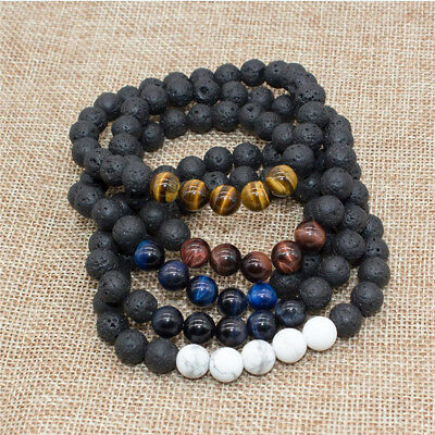 Men Women 8mm Beads Natural Aromatherapy Lava Stone Volcanic Healing Bracelets