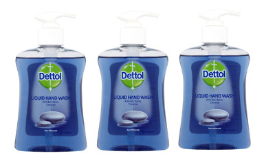 THREE Dettol Cleanse SEA MINERALS Anti-Bacterial LIQUID HAND WASH 250ml