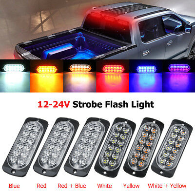 12-24V 12 LED Ultra Thin Car Emergency Flashing Strobe Side Light Warning Beacon