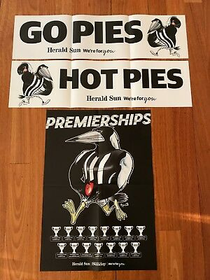 Collingwood Magpies 2018 Finals Glossy Poster + 2 Banners -Herald Sun