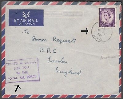 Hong Kong China Scarce 1959 British Forces Airmail Cover With Qe Val To London