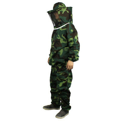 Camouflage Beekeeping Jacket Protective Veil Smock Bee Coat Suit Clothes Protect