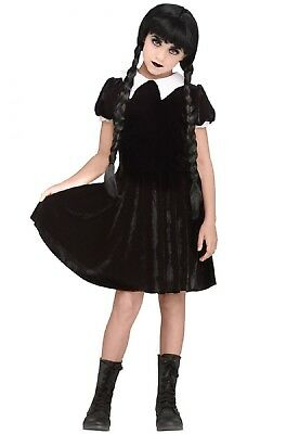 Girls Wednesday Addams Family Halloween Fancy Dress Costume Outfit 7-14 years