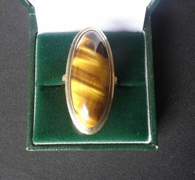 Very Nice, Vintage 9Ct Gold Tiger's Eye Set Ring,