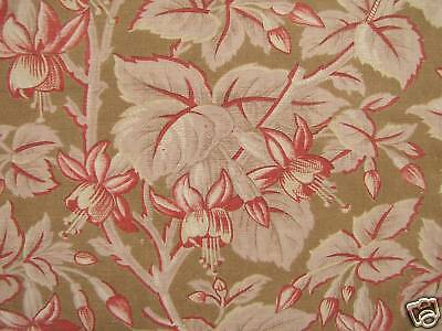 Antique French printed fabric fuschia design cotton light weight material c1880