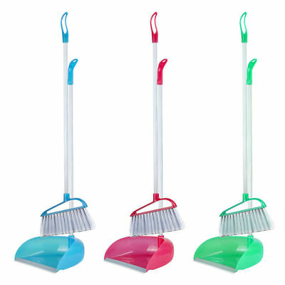Extra Long Upright Handled Dustpan & Brush Set Broom Sweep Clean Clip Handle -UK