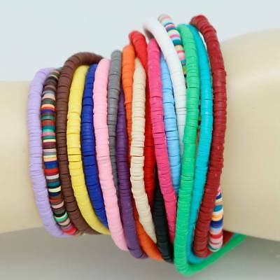 "1 Strand 18"" Handmade Flat Disc Polymer Clay Beads 3/4/5/6mm Wholesale NEW"