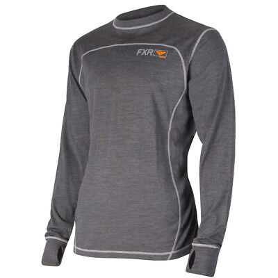 FXR - Vapour 50% Merino Charcoal/Orange Men Long Sleeves Top - X-Large