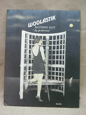 Rare Original 1920-30'S Woolastik Bathing Suit Stand-Up Counter Ad! Amazing Find