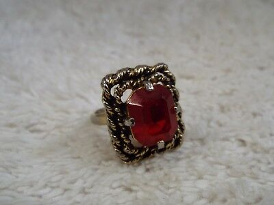 Goldtone Red Glass Ring ~ Adjustable Size 5-6  (A33)