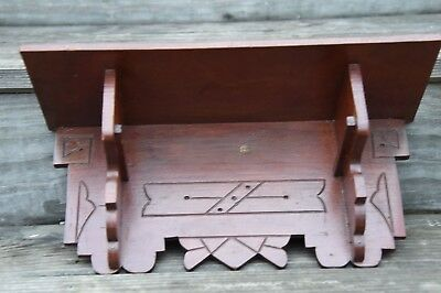 """Antique Victorian Aesthetic Movement Period  Wall Shelf Carved Wood 16"""" L"""