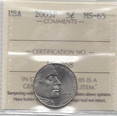 **2005P** USA, Five Cent, Jefferson Nickel, ICCS Graded **MS-65**