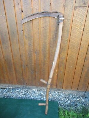 "Vintage Antique 58"" Long Scythe Hay Grain Sickle Farm Tool Blade is 19"" Long"
