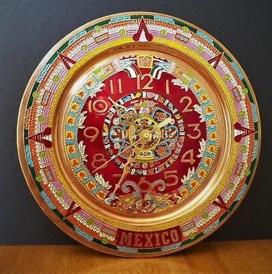 """Vinage 11"""" Wall Clock Made In Mexico Multi Coloured Aztec Mayan Designed In Shin"""