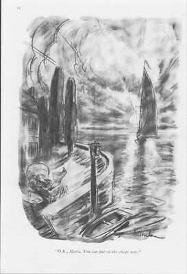 1939 Sailboat You Can Put The Chops On Now - Perry Barlow New Yorker Cartoon Art