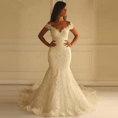 2018 Mermaid Sweetheart Appliques Lace Back Wedding Dresses Bridal Gown Custom