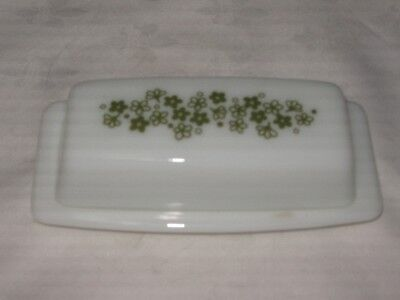A Vintage Pyrex Crazy Daisy Spring Blossom Milk Glass Green Flower Butter Dish