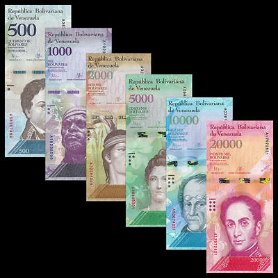 Venezuela 500 + 1000 + 2000 + 5000 + 10000 + 20000 Bolivares Lot / Set UNC