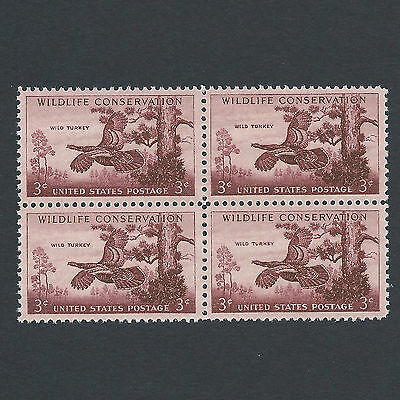 Wild Turkey - Vintage Set of 4 stamps 62 Years Old!