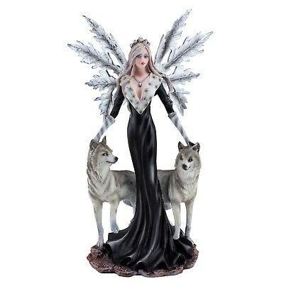"""Black Fairy With Two White Wolves Figurine Statue 9.75"""" High New In Box"""