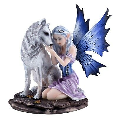 """Purple Fairy With White Wolf Figurine Statue 6.5"""" High New In Box"""