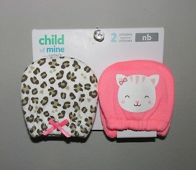 Carters Newborn Girls Scratch Mittens (2 PACK) BRAND NEW W TAGS