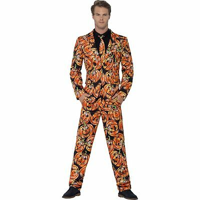Pumpkin Print Stand Out Suit Halloween Adults Mens Fancy Dress Costume