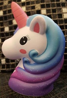Squishy Cute Giant Blue Purple Unicorn Scented Slow Rising Girls Toys UK 17.5cm