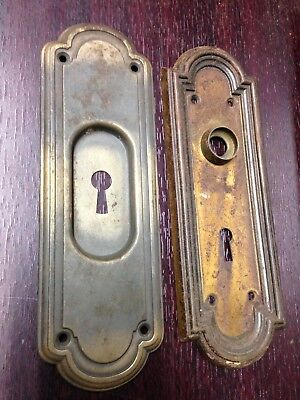 2 Antique Vintage Arts Crafts Door Knob Key Hole Lock Plate Parts