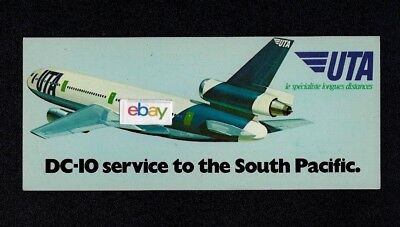 Uta French Airlines Dc-10 Service To The South Pacific Airline Issue Postcard