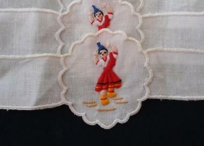 Rare New Vintage Madeira Napkin Rings Red Embroidered Woman Set 6 NWT