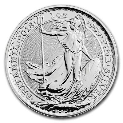 2018 Great Britain 1 oz Silver Britannia-1oz-Troy-ounce-Bullion Coin