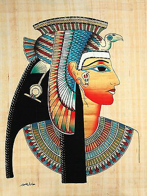 "Egyptian Papyrus - Hand Made - 12"" x 16"" - Ancient Art Form- Queen Cleopatra"