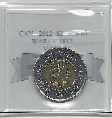 **2012 War of 1812** Coin Mart Graded Canadian, Toonie, Two Dollar, **MS-64**