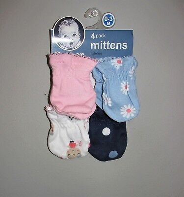 Gerber Infant Girls Scratch Mittens 4 PACK (Size 0-3 Months) BRAND NEW W TAGS