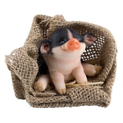 """Black and Pink Pig Sitting In Burlap Sack Figurine 2"""" High New In Box"""