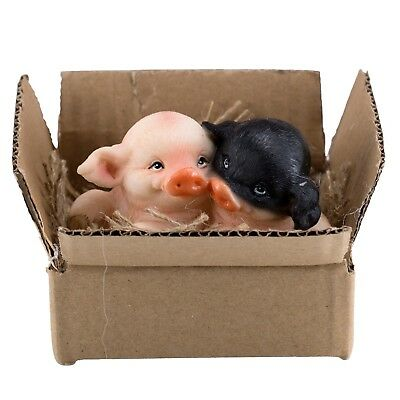 "Black and Pink Pigs In A Box With Burlap Figurine 3.5"" Wide New In Box"