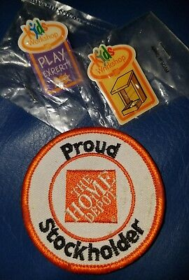 Home Depot proud stockholder patch and 2 kids workshop pins