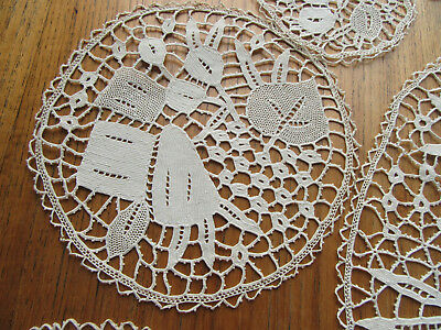 Round Handmade Figural Lace Circles Runners Coasters Doilies Rabbits?