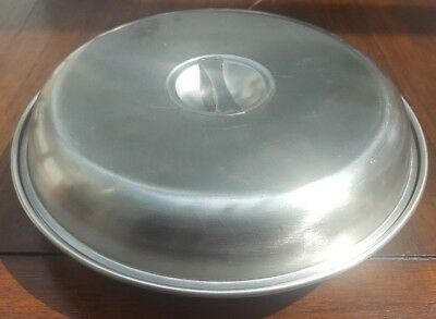 * Old Used Round Stainless Steel Serving Dish Lid 25.5 Cm X 6.5 3 Sections Nuts