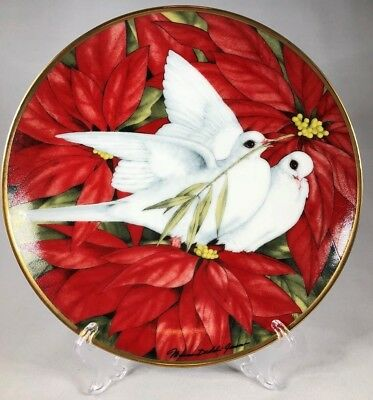 1991 Limited Franklin Mint American Lung Association Christmas Doves Plate