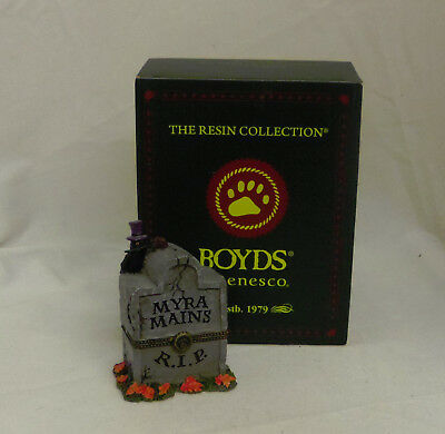 Myra's Tombstone Ghoulie Mcnibble Boyds Bearstone Halloween treasure box 428416