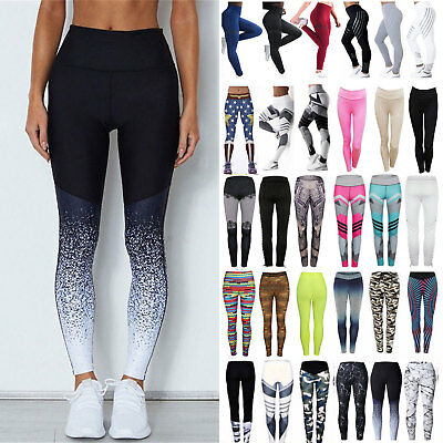 Womens Jogging Yoga Fitness Leggings Workout Gym Sports Pants Stretch Trouser AU