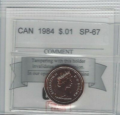 **1984**, Coin Mart Graded Canadian, Small One Cent, **SP-67**