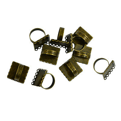 10pcs Cabochon Setting Rings Adjustable Bronze Plated Fit 20mm Square Bezels