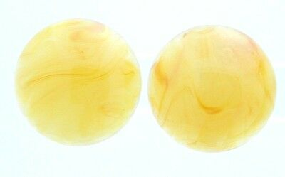 VTG Pre WW2 Germany Yellow Orange Marbled Lucite Clip Earrings