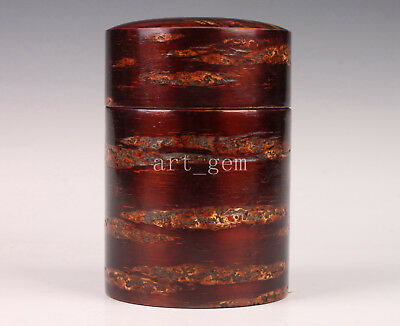 Japanese Handmade Cherry Bark Tea Caddy Sets Seal Old