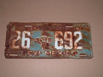 1950 New Mexico License Plate 26 692  Car Tag